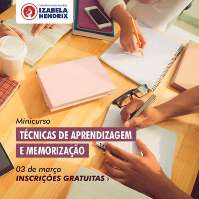 Minicurso sobre Técnicas de Aprendizagem e Memorização será realizado no dia 3 de março