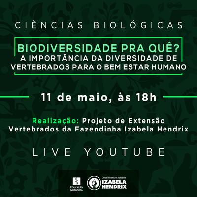 """""""Biodivesidade pra quê? A importância da diversidade de vertebrados para o bem-estar humano"""" é tema de palestra organizada por projeto do curso de Ciências Biológicas"""