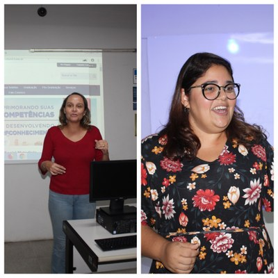 Professora Fabiana Alves e Danielle Marciano ministrando as oficinas