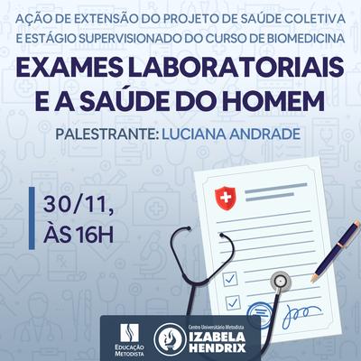 """Curso de Biomedicina promove palestra """"Exames laboratoriais e a saúde do homem"""""""