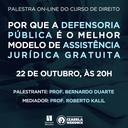 Curso de Direito promove palestra sobre Defensoria Pública