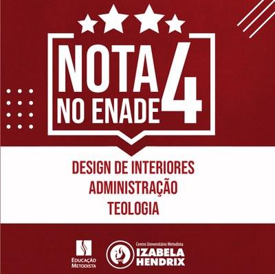 Enade 2018: Administração, Teologia e Design de Interiores do Izabela são nota 4