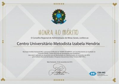Centro Universitário Metodista Izabela Hendrix recebe certificado de honra ao mérito