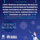 """Palestra On-line""""como técnicas de biologia molecular integradas com estudos de filogenética podem contribuir na compreensão de aspectos do novo coronavírus e da pandemia da covid-19?"""""""